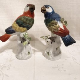 Pair of Meissen Parrots