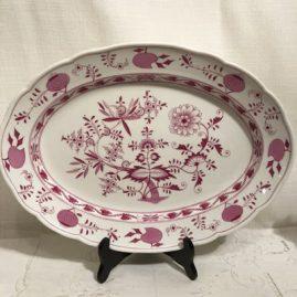 Rare pink onion Meissen platter