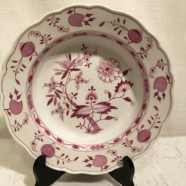 Set of twelve rare Meissen pink onion wide rim soups