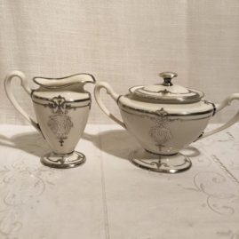 Ceramic Art Company of Lenox Belleek silver overlay sugar and creamer