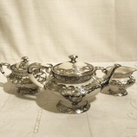 Ceramic Art Company of Lenox Belleek silver overlay tea set