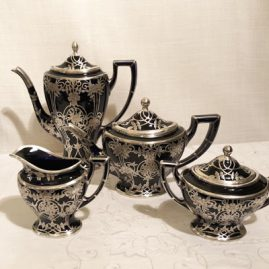 Lenox cobalt silver overlay tea and coffee set.