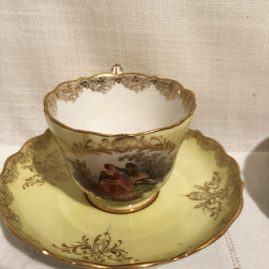 Set of ten Meissen cups and saucers with lovers