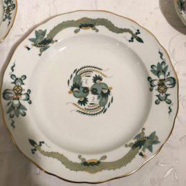 One of fourteen Meissen green court dragon dinner plates