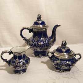 Hutchenreuther Bavarian silver overlay three piece tea or coffee set