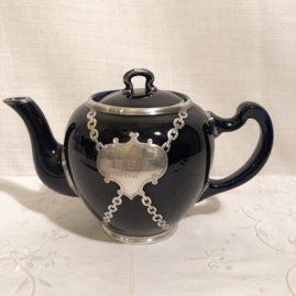 Rare Lenox silver overlay cobalt teapot