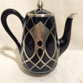Cobalt silver overlay tea or coffee pot