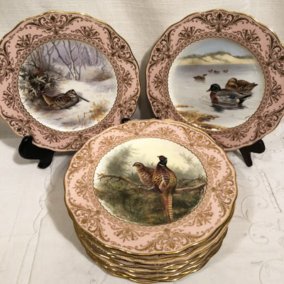 Set of twelve Cauldon bird plates, each painted differently