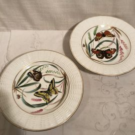 Pair of English butterfly compotes
