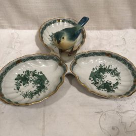 Green Herend Chines butterfly three section bowl with figure of a bird on top