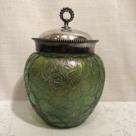Art glass irredescent bisquit jar