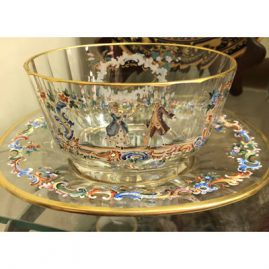 Wonderful signed Lobmyer bowl and under plate with scene of lovers