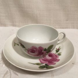 Meissen pink rose cup and saucer