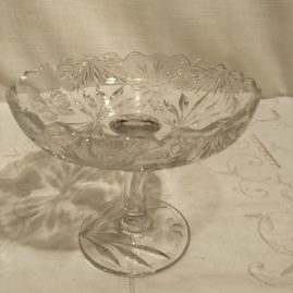 Pairpoint wheel cut butterfly compote