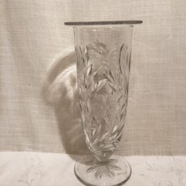 Pairpoint engraved and wheel cut butterfly vase