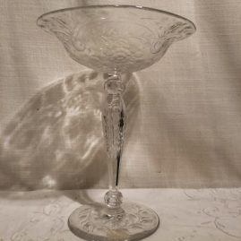 Signed Hawkes wheel cut crystal compote