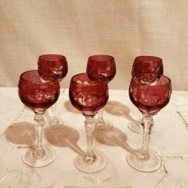 Set of 6 Bohemian crystal cordials with cut stem