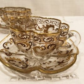 Another view of the set of 12 Moser cups and saucers