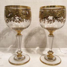 Set of 10 of Moser gilded goblets