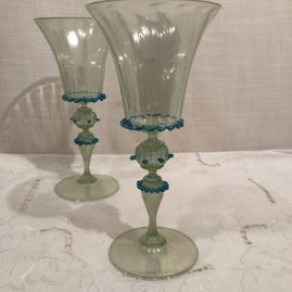Set of 7 Salviati Venetian water goblets