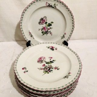 Set of KPM plates with raised forget me nots around the borders.