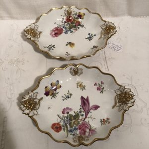 Pair of Antique Coalport Fluted Bowls with Different Flower Bouquets