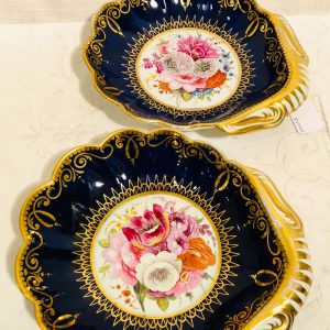Pair of English Coalport Cobalt Shell Shaped Handled Bowls