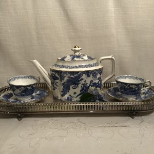 Blue Aves Royal Crown Derby Tea Set with 14 Cups and Saucers and Teapot