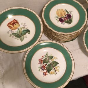 Copeland Dessert Set Painted With Different Flowers