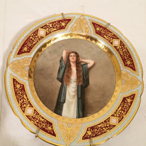 Royal Vienna Plate of Beautiful Lady With Long Hair Signed Wagner