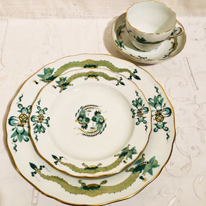 Dinner Service for 14 of Meissen Green Court Dragon