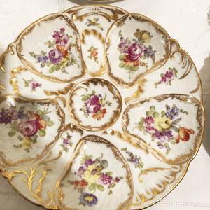 Dresden Flowered Oyster Plate