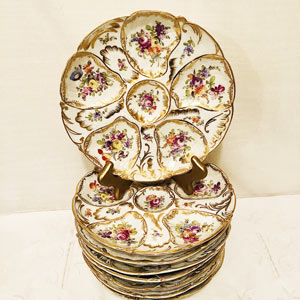 Set of Eight Dresden Flowered Oyster Plates