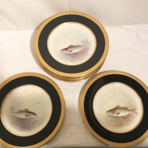 Set of 11 Lenox Fish Plates Each Painted With a Different Fish Artist Signed Morley