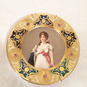 Royal Vienna Portrait Plate of Marie Louise Artist Signed Wagner