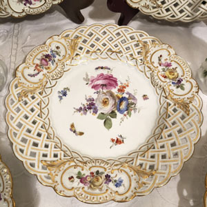 Set of Ten Meissen Reticulated Dessert Plates Painted With Flowers and Insects