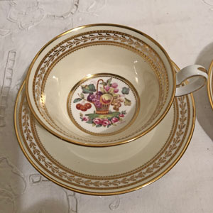 Minton Cup and Saucer Duo With Fruit Paintings Artist Signed A. Ball