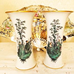 Pair of Meissen Vases With Watteau Type Paintings