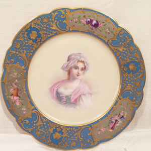 Sevres Portrait Plate of Beautiful Lady