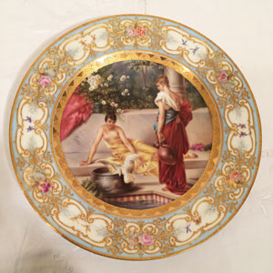 Royal Vienna Plate of Two Ladies and a Bird on a Veranda