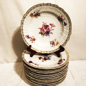 Set of Twelve KPM Dinner Plates With Different Hand Painted Flowers