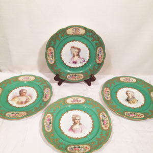 Five Sevres Portrait Plates, Each Painted With a Different Lady of the French Court