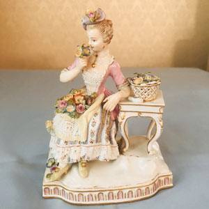 Meissen Figure of Lady Depicting the Sense of Smell