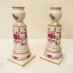 Pair of Meissen Purple Indian Candlesticks