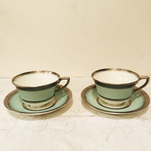 Pair of Royal Worcester Green Mint Cups and Saucers With Sterling Silver Rims