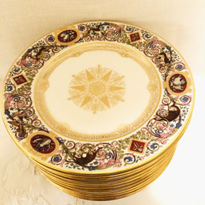 Set of Eleven Sevres Louis Philippe Hunt Plates