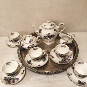 Tuscan Violet Tea Set With Teapot, Covered Sugar and Creamer and Five Cups and Saucers