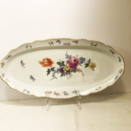 Large Meissen Fish Platter Painted With Summer Flowers and Butterflies