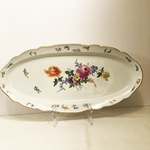 Large Meissen Fish Platter Painted With Summer Flower Bouquet and Butterflies