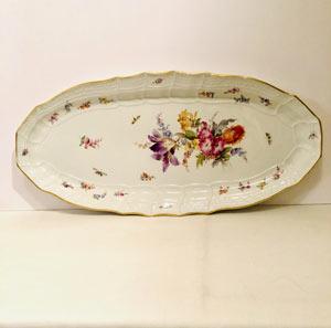 Antique Meissen Fish Platter With a Bouquet of Flowers Including a Purple Tulip